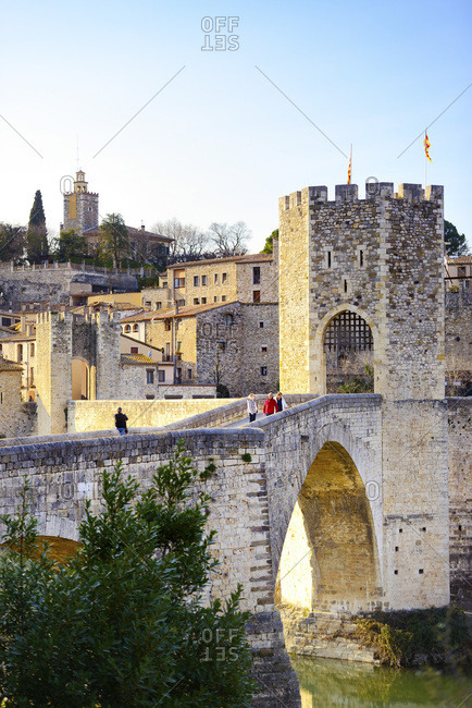 February 20, 2017: Spain, Catalonia, Besalu, Girona district, Besal� medieval city centre and Pont Vell