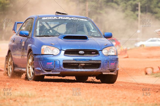 Union Point, Georgia, USA - July 26, 2015: Subaru WRX STI at motorsport event at off-road resort