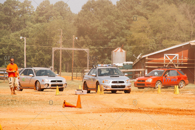 Union Point, Georgia, USA - July 26, 2015: Subarus at motorsport event at off-road resort