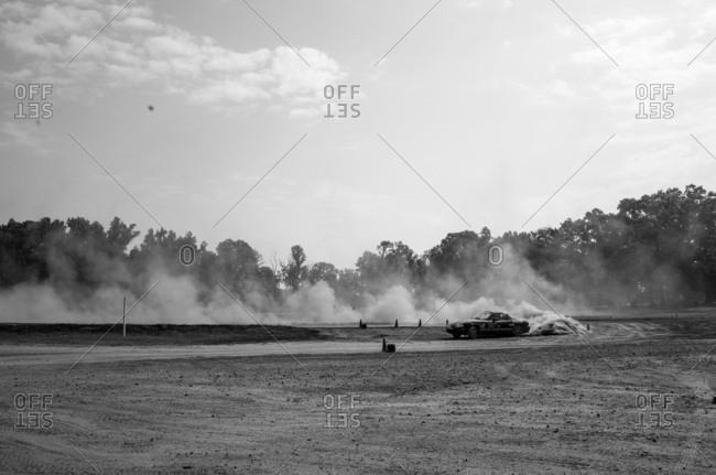 Union Point, Georgia, USA - July 25, 2015: Mazda Miata racing at off-road motorsport event