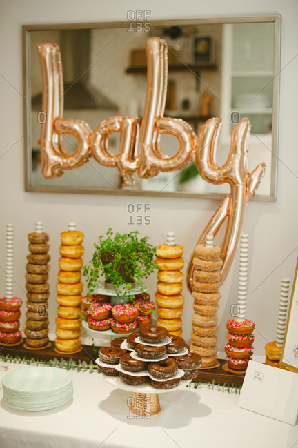 Doughnuts on table at baby shower