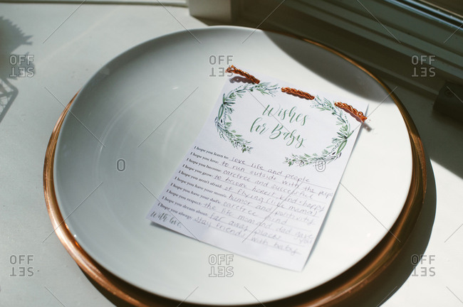 Note with good wishes at baby shower