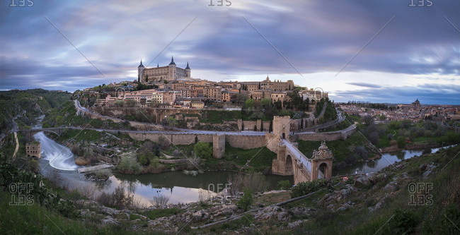 Spain- panorama view of Toledo in the evening