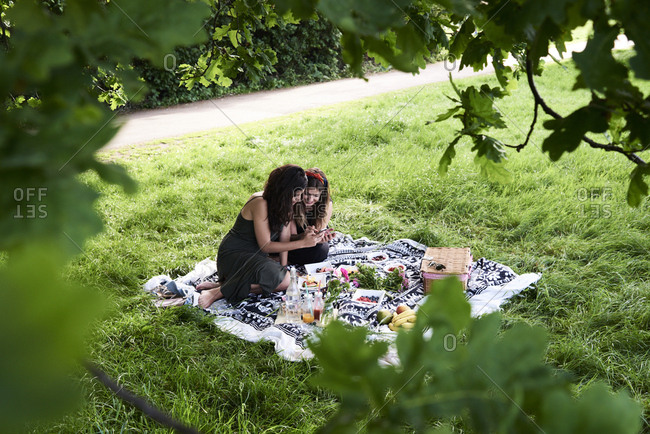 Friends having a picnic in summer- talking and looking at smartphone