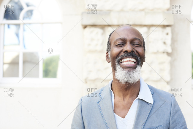 Portrait of laughing bearded man