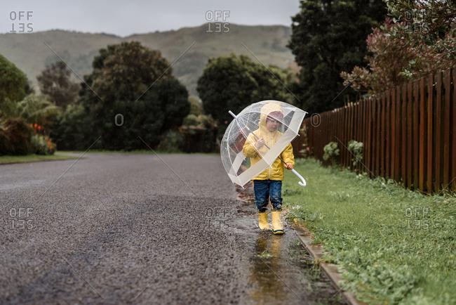 Boy with umbrella on rainy road