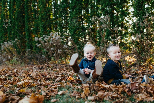 Portrait of male and female toddler twins sitting amongst autumn leaves in garden