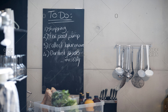 Blackboard in kitchen with list of things to do