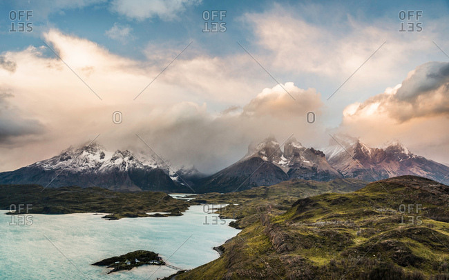 Dramatic sky over Cuernos del Paine and Paine Grande, Torres del Paine National Park, Chile