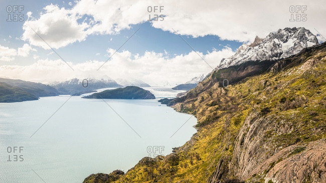 Landscape with lake and distant view of Grey glacier, Torres del Paine National Park, Chile