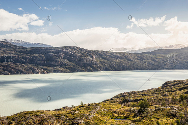 Landscape with Grey glacier lake, Torres del Paine National Park, Chile