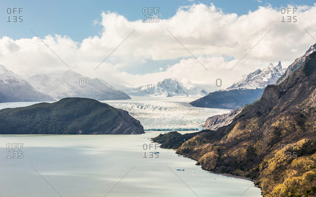 View of Grey glacier lake and Grey glacier, Torres del Paine National Park, Chile