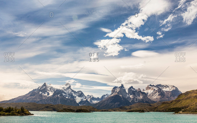 Mountain landscape with Paine Grande and Cuernos del Paine, Torres del Paine national park, Chile