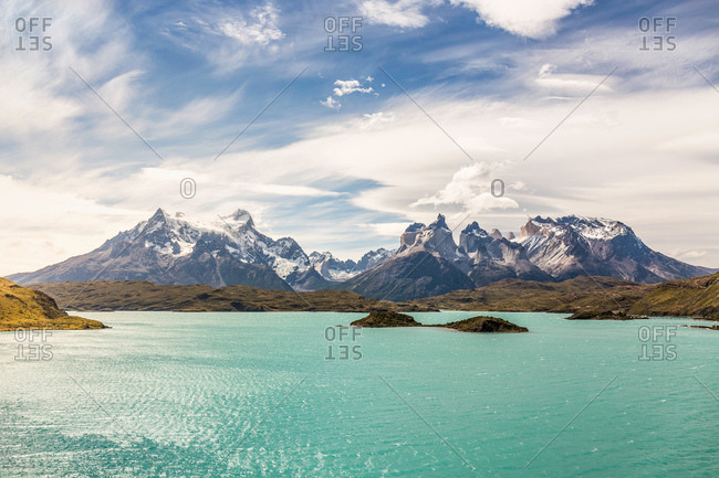Mountain landscape with Grey Lake, Paine Grande and Cuernos del Paine, Torres del Paine national park, Chile