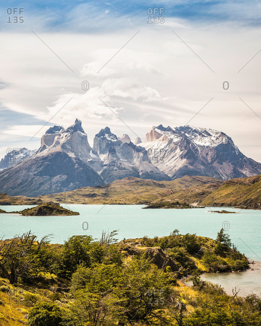 Landscape with Grey Lake, Paine Grande and Cuernos del Paine, Torres del Paine national park, Chile