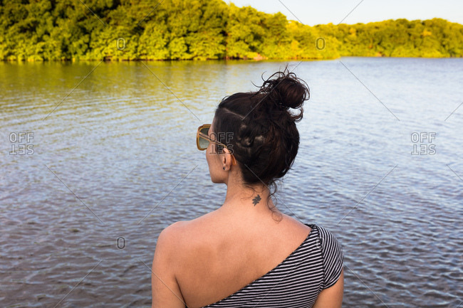 Woman by sea, Fortaleza, Ceara, Brazil, South America