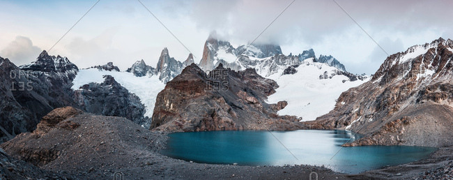 Panoramic of low cloud over  Fitz Roy mountain range and Laguna de los Tres in Los Glaciares National Park, Patagonia, Argentina
