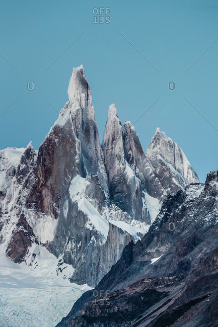 Blue sky over Cerro Torre and Fitz Roy mountain ranges, Los Glaciares National Park, Patagonia, Argentina