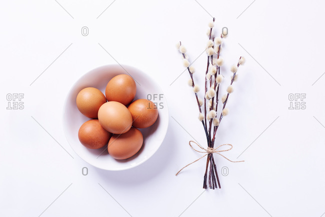 Overhead view of eggs in bowl and bunch of pussy willow on white background