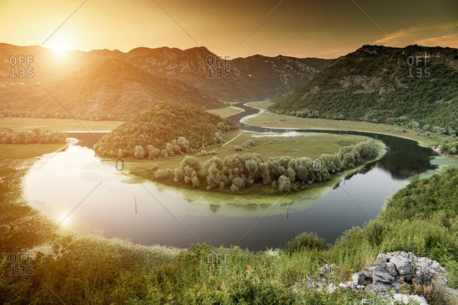 Bend in river, Lake Scutari, Rijeka Crnojevica, Montenegro,