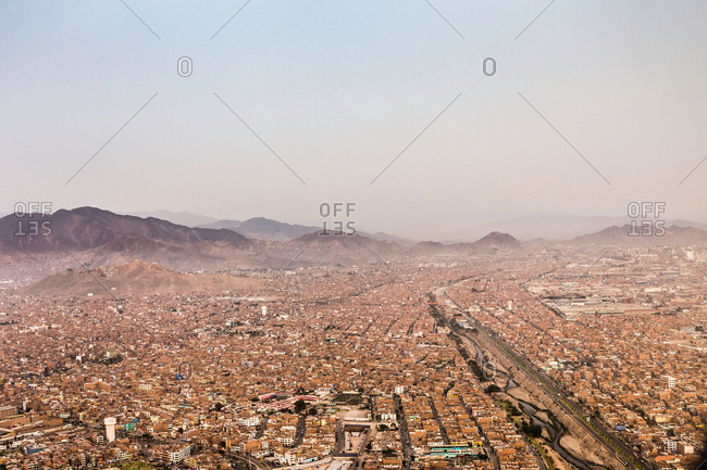 Lima, Peru - December 31, 2016: Aerial view of cityscape