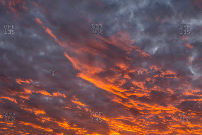 Glowing dramatic cloudscape at sunset