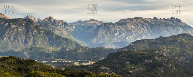 Panoramic mountain valley landscape,  Futaleufu, Los Lagos region, Chile