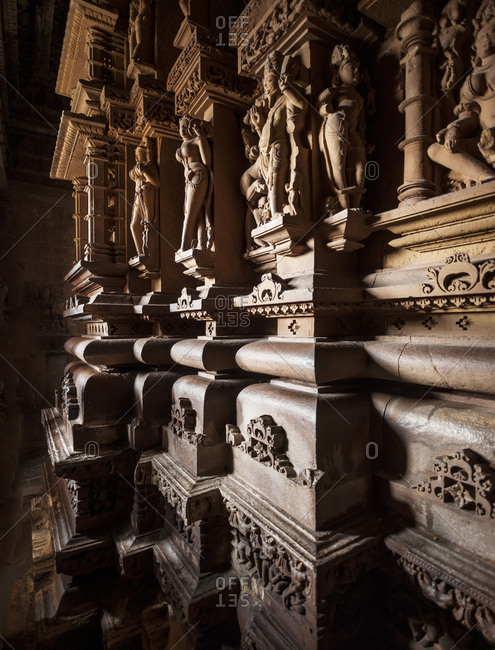 Inside Lakshmana temple, India, Madhya Pradesh (Central Provinces), Khajuraho