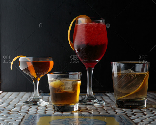 Group of cocktail drinks