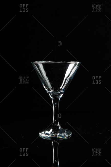 An empty cocktail glass