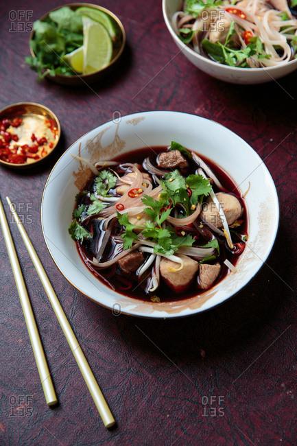 Thai boat noodle soup with pork