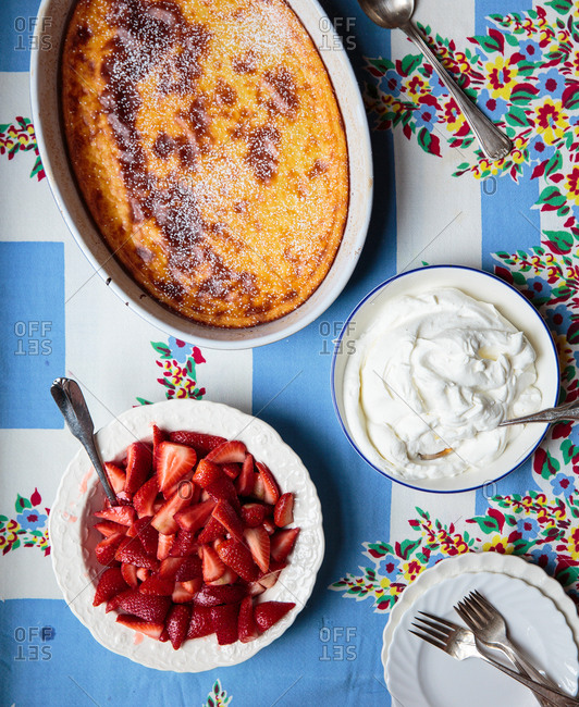 Custard pie with strawberry and whipped cream