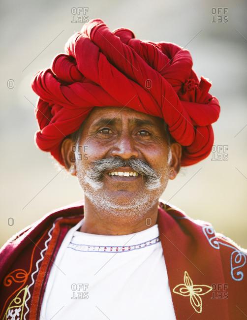 Jawai, Rajasthan, India - May 19, 2015: Rabari herdsman