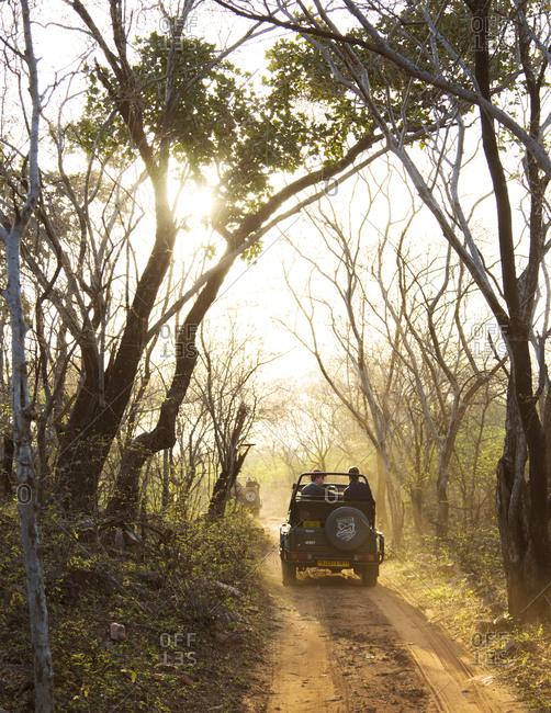 Ranthambore, India - May 22, 2015: Tourists on safari