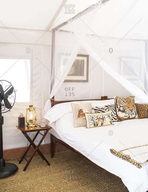 Ranthambore, India - May 22, 2015: The interior of a tented camp at Sher Bagh