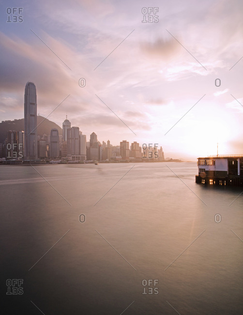 Hong Kong, China - September 17, 2015: Victoria Harbour at dusk