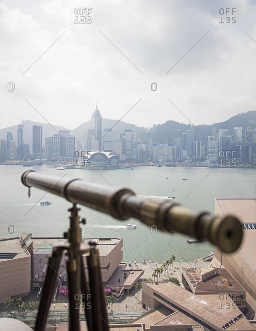 Hong Kong, China - September 18, 2015: A view of Hong Kong and Victoria Harbor from The Peninsula Hotel