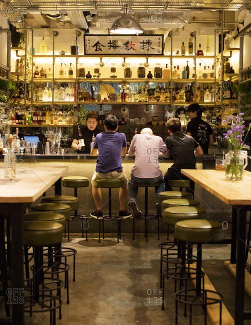 Hong Kong, China - September 18, 2015: The bar at Sohofama in P.M.Q.