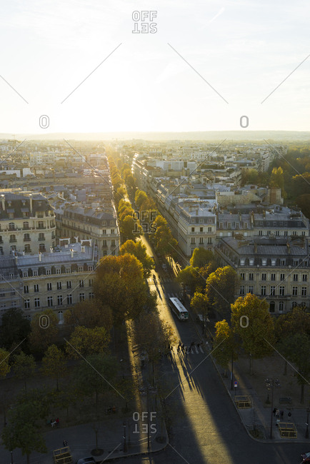 Paris, France - September 27, 2017: Paris from above in Autumn with golden light