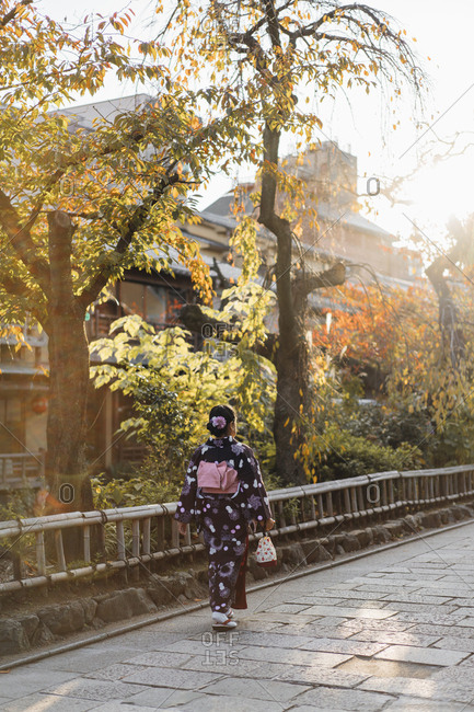 Japanese dressed woman strolling