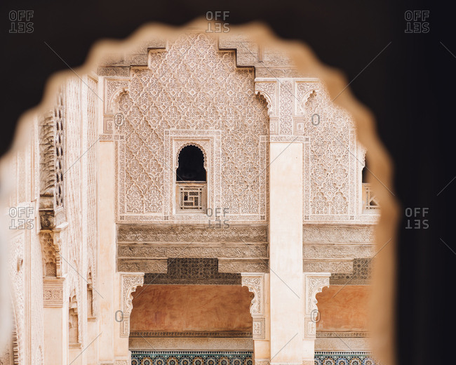 Detail of Ben Youssef Madrasa in Marrakech, Morocco
