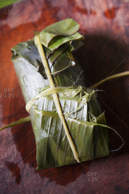 Wrapped and stuffed banana leaf