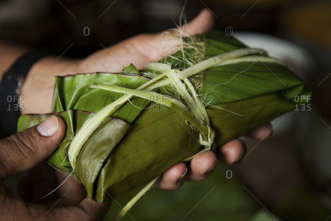 Person holding freshly wrapped and stuffed banana leaf