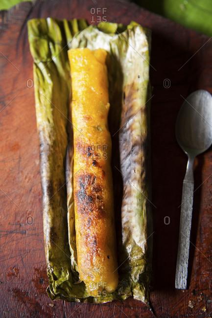 Grilled Ecuadorian corn cake tamale
