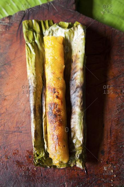 Charred Ecuadorian corn cake tamale