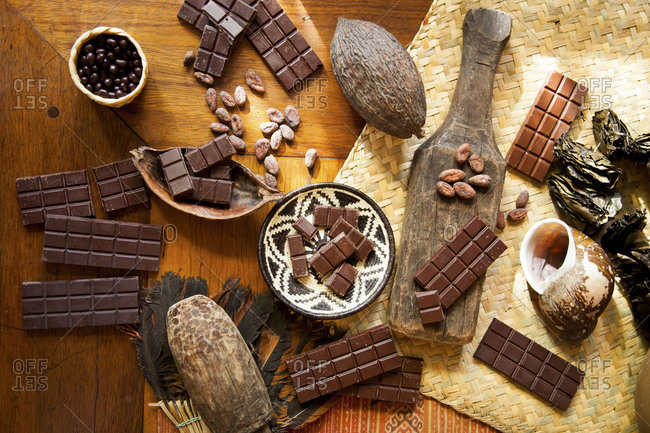 Single origin chocolate candy and cocoa beans