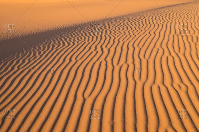Horizontal outdoors shot of wavy sand texture on desert dune under the sun light