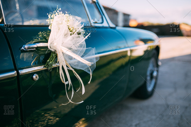 Classic car with wedding decoration