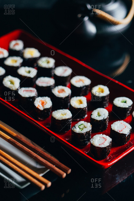 Serving of assorted sushi