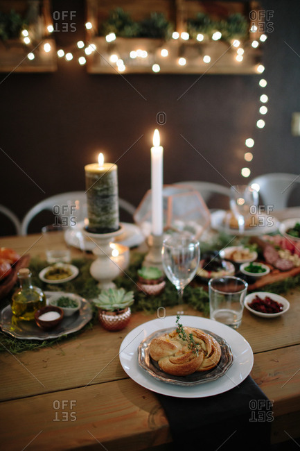 A holiday table with bread